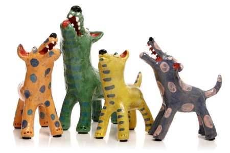 Unique ceramic dogs by South Australian artist Elodie Barker