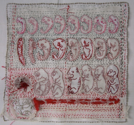 Willemien de Villiers | Heackel's mistake | stitching and fabric manipulation on found linen napkin | 230mm x 230mm
