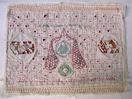 Willemien de Villiers | Orchid pollinia, gland + translator arms | stitched and altered linen tray cloth | 390mm x 270mm