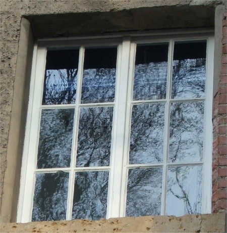 Old window containing a single sheet of float glass in the upper left section, Jena, Germany. The remaining sections are possibly not float glass as indicated by the distorted reflections of a tree.
