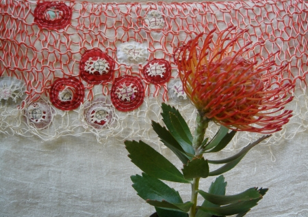 Willemien de Villiers | pincushion from my garden + new textile, 2